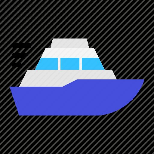 boat, marine vessel, ship, vehicle, watercraft, yacht icon