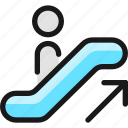 escalator, ascend, person