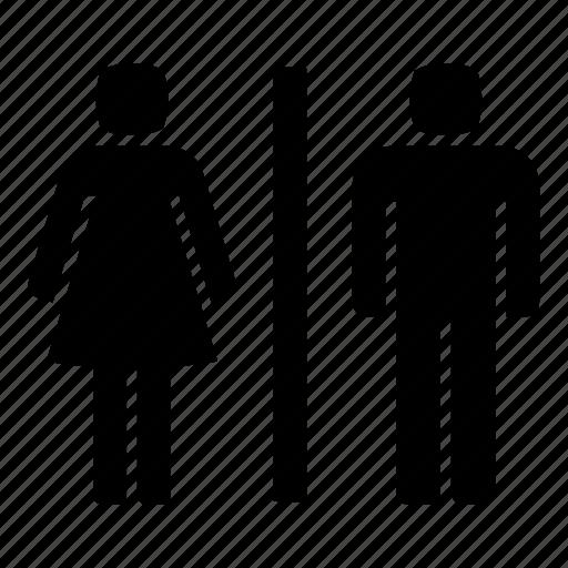 bath, bathroom, lavatory, man and woman, sanitary, toilet, wc icon