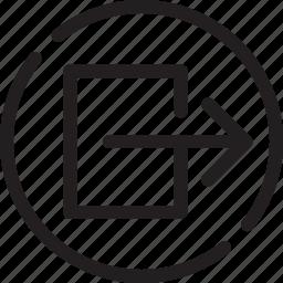 door, evacuation, exit, exit direction, inter, logout, output icon
