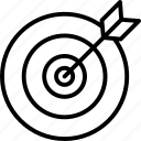 arrow, arrow on dartboard, dartboard, target, targeting icon