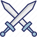armaments, cross, swords, weapons icon