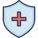 medical shield, medicine shield, red cross shield, shield with medical sign icon