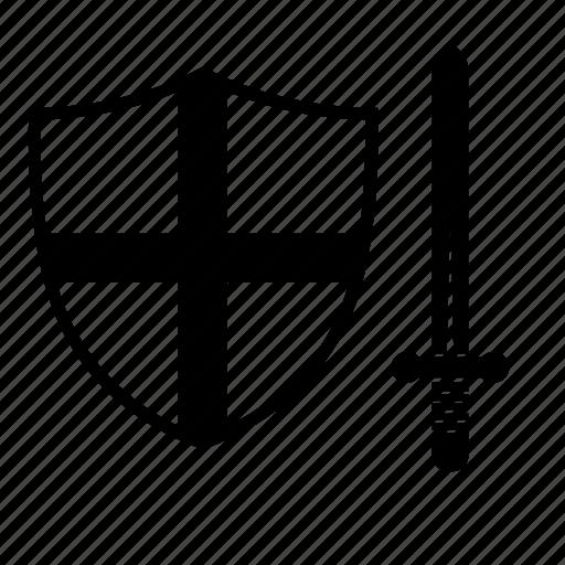 shield, sword, weapon icon