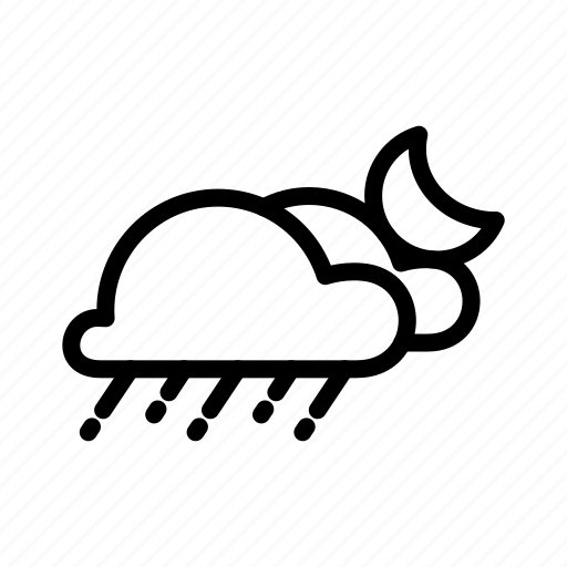 clouds, night, rain, shower icon