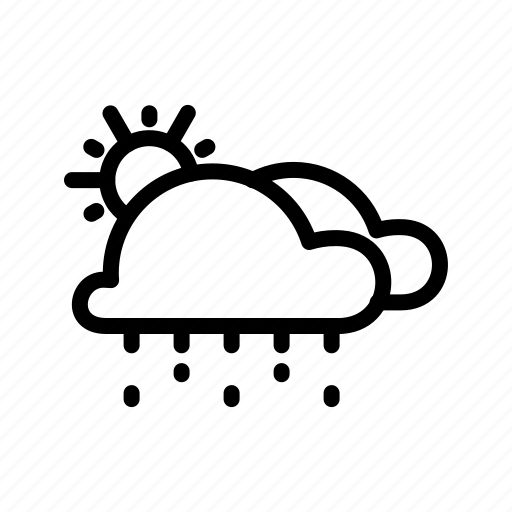 clouds, drizzle, shower, sun, weather icon