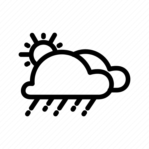 clouds, drizzle, raining, sun, weather icon