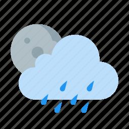 cloud, drizzle, moon, night, rain, weather icon