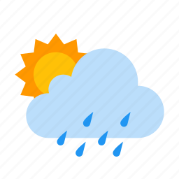 cloud, day, drizzle, sun, sunny, weather icon