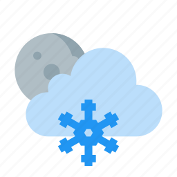 cloud, frosty, moon, night, snow, weather icon