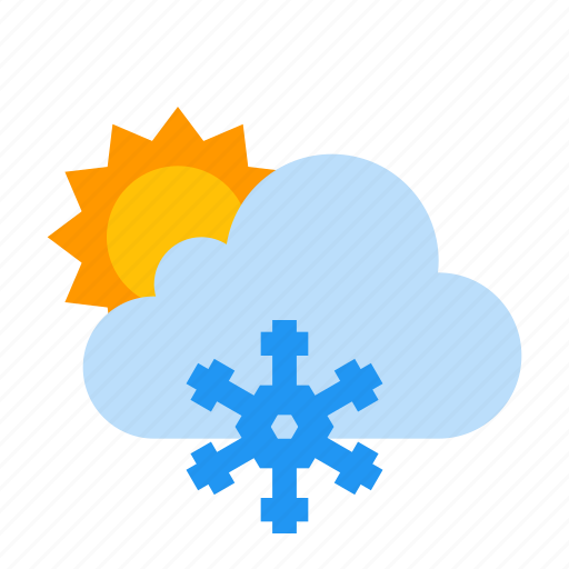 cloud, day, frosty, snow, sun, sunny, weather icon