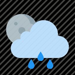 cloud, forecast, moon, night, raining, weather icon