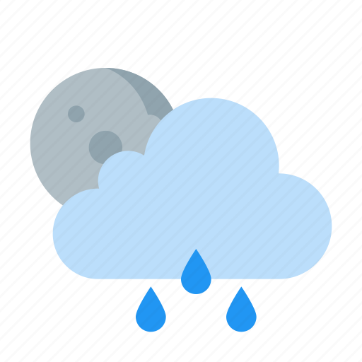 cloud, forecast, moon, night, raining, weather icon