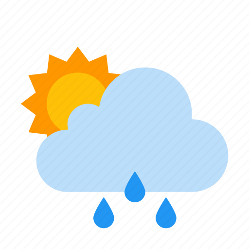 cloud, raining, sun, sunny, weather icon