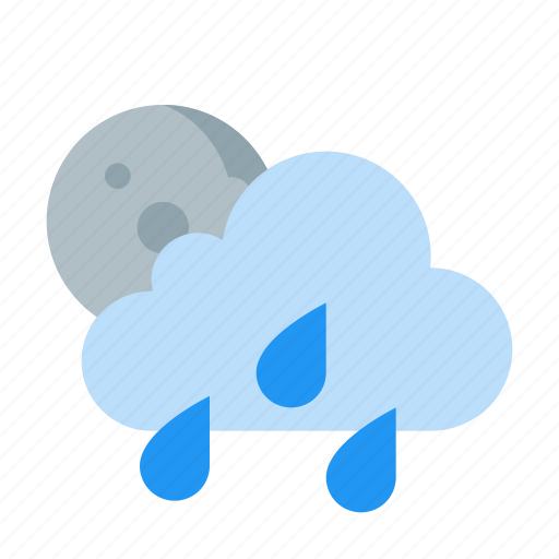 cloud, moon, night, showers, weather icon