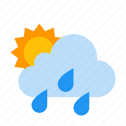 cloud, shower, showers, sun, sunny, weather icon