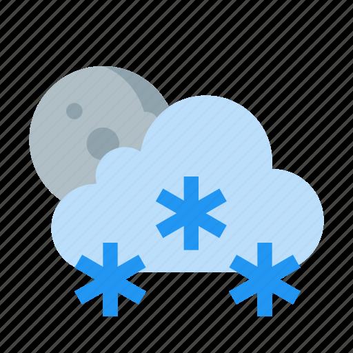 cloud, moon, night, rain, snowing, weather icon
