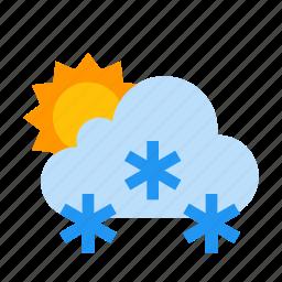 cloud, snow, snowing, sun, sunny icon