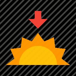 evening, sun, sunny, sunset, weather icon