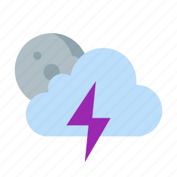 cloud, moon, night, storm, thunder, weather icon