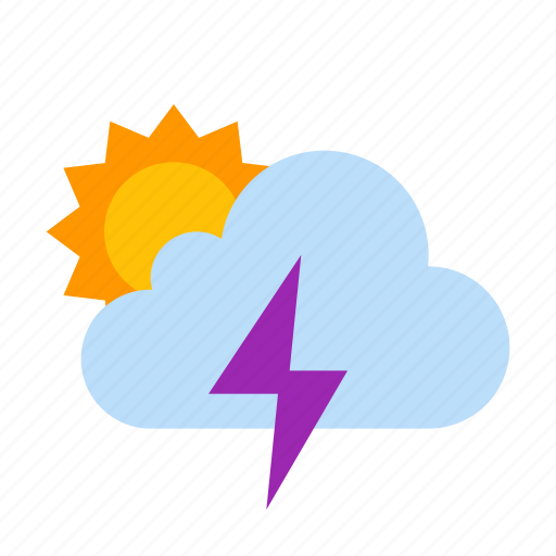 cloud, storm, sun, sunny, thunder, weather icon