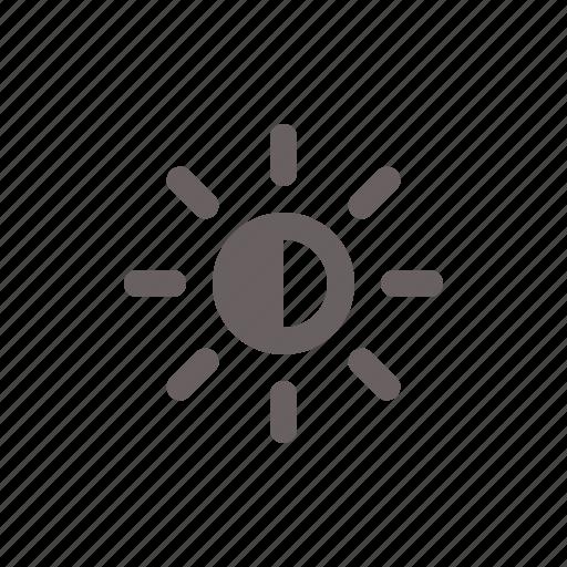 brightness, half, sun, weather icon