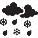 cloud, forecast, rain, rainy, snow, weather icon