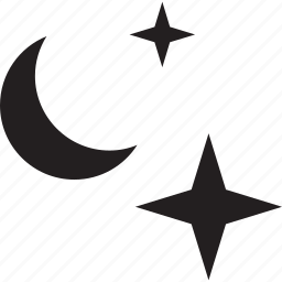 half, moon, night, sky, star icon