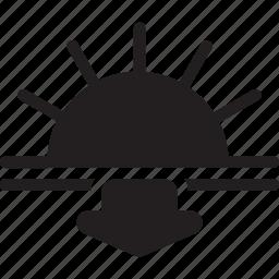 arrow, down, horizon, sea, sun, sunrise icon