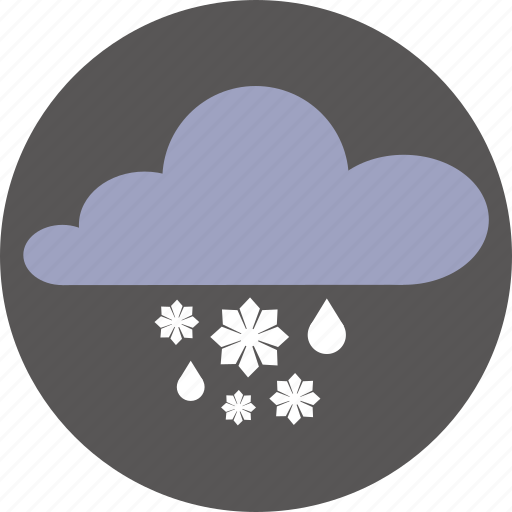 clouds, forecast, rain, snow, weather icon