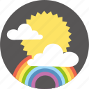 clouds, day, forecast, rainbow, sun, weather icon