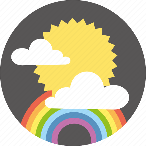 clouds, forecast, rainbow, sun, weather icon