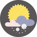 cloud, forecast, snow, snowflake, sun, weather icon