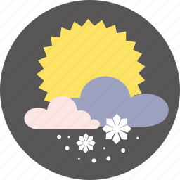 day, forecast, snow, sun, weather icon
