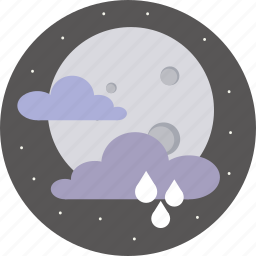 clouds, forecast, moon, night, rain, weather icon