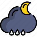 cloud, night, rainy, season, weather icon