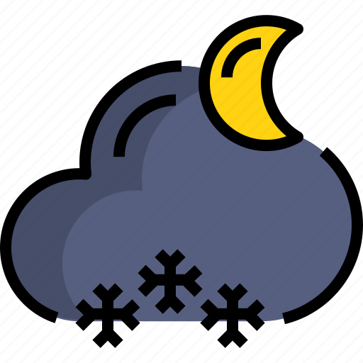 cloud, night, season, snow, weather icon