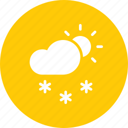 cloud, daytime, forecast, snow, snowfall, sun, weather icon