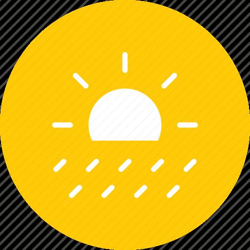day, forecast, rain, rainfall, raining, sunny, weather icon
