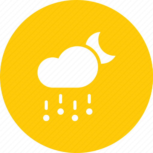 cloud, forecast, hail, moon, night, rain, stone icon