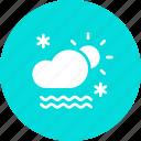 cloud, daytime, fog, frost, mist, snow, sun icon