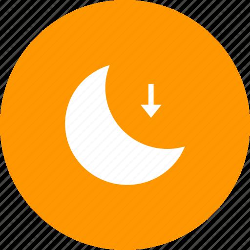 daytime, low, lower, moon, night, set icon