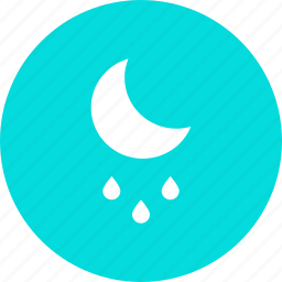drizzle, forecast, moon, night, rain, rainfall, weather icon