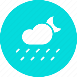 cloud, forecast, moon, night, rain, rainfall, weather icon