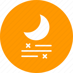 fog, forecast, frost, mist, moon, night, snow icon