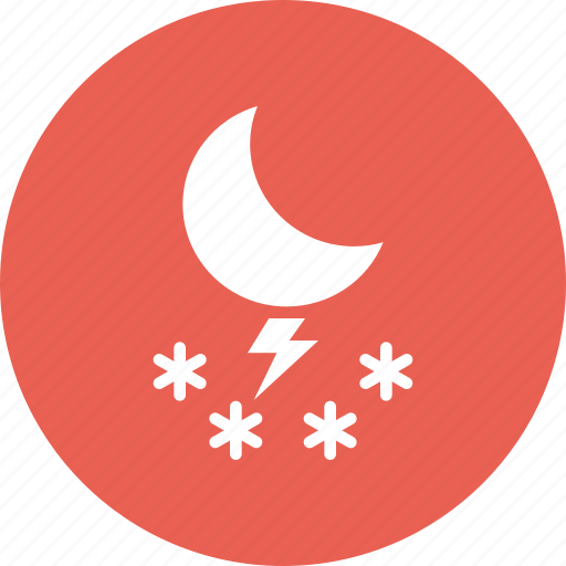 forecast, moon, night, snow, snowfall, storm, weather icon