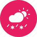 cloud, daytime, forecast, rain, sleet, snow, sun icon