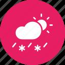 cloud, daytime, forecast, rain, sleet, snow, sun