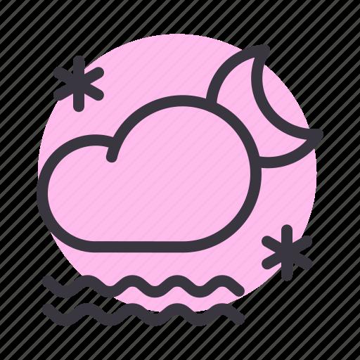 cloud, fog, forecast, frost, moon, night, snow icon
