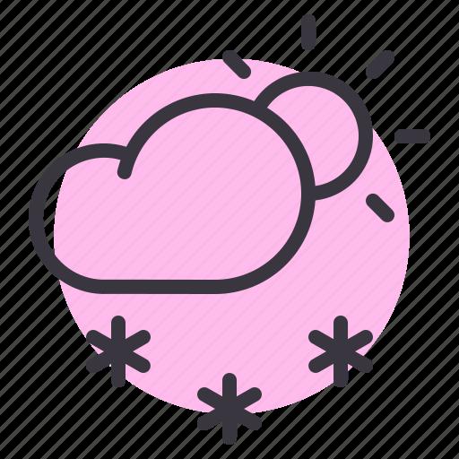 cloud, daytime, forecast, snow, snowfall, sun, weather icon